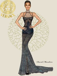 Irina Shayk in Official Versace by David Mandeiro Illustrations.