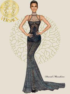 Irina Shayk in Official Versace by David Mandeiro Illustrations.