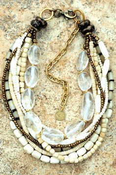 Stunning Bone  Bronze Necklace: Warm and Natural Bone, Bronze and Quartz Multi-Strand Collar-Style Necklace