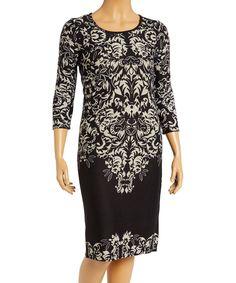 Black & White Damask Sweater Dress - Plus