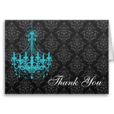 Teal Chandelier Black Damask Thank You Note Cards