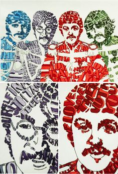 Typography portrait of the Fab Four. The Beatles. Foto Beatles, Beatles Love, Les Beatles, Beatles Art, Beatles Songs, Great Bands, Cool Bands, Typography Portrait, Friday Music