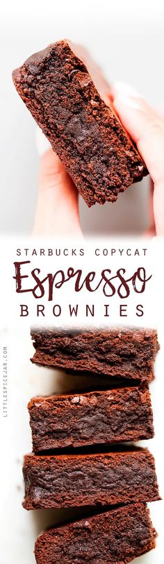 Starbucks Copycat Espresso Brownies - made with real ground espresso beans! These brownies are sooo fudgy and delicious! Brownie Desserts, Oreo Dessert, Mini Desserts, Coconut Dessert, Coffee Dessert, Brownie Recipes, Dessert Bars, Chocolate Recipes, Delicious Desserts