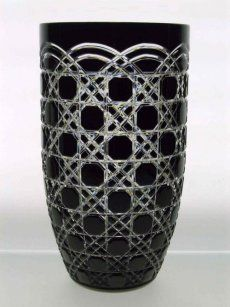 Black crystal vase handcut by Ajka Crystal Ltd. Exquisite piece of home decor that makes a perfect crystal gift. - Bestla Vase