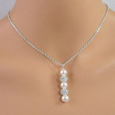 White pearl crystal pave ball pendant wedding necklace on a sterling silver chain. A lovely necklace for a bride. Pearl Jewelry, Wire Jewelry, Jewelry Crafts, Beaded Jewelry, Jewelery, Gold Jewellery, Pearl Choker, Silver Jewelry, Bridal Necklace