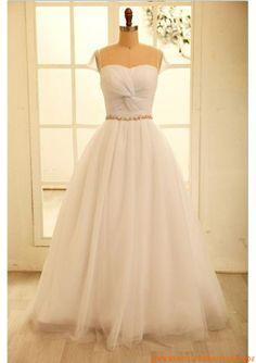 Herz-ausschnitt A-linie Schlichtes Brautkleid 2013 aus Softnetz mit Perlenstickerei