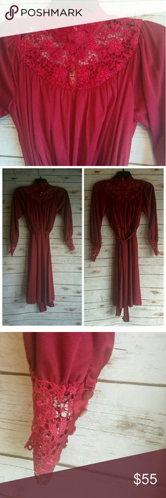 Gorgeous lace trim 70s dress Luxurious sash tie waist dress with beautiful button cuffs and neckline. Good overall vintage condition. No missing buttons or obvious marks. No size but fits like a 4. Vintage Dresses Midi
