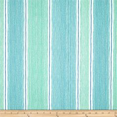 Robert Allen Promo Wish Again Stripe Seaspray from @fabricdotcom  Screen printed on a slubbed  and ribbed textured polyester, this lightweight fabric is very versatile and perfect for window treatments (draperies, curtains, valances, and swags), accent pillows and upholstery. Colors include mint, blue and white,.