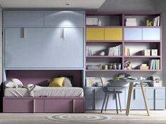 Camas Abatibles, la mejor opción para habitaciones juveniles pequeñas Camas Murphy, Shelving, Bed, Furniture, Madrid, Home Decor, Bed Designs, Foldable Bed, Houses