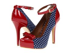 Not Rated Martini Navy Polka Dot & Red heels from zappos.com