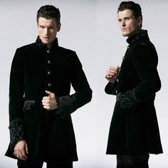 Men Black Velvet Single Breasted Victorian Gothic Dress Trench Coat SKU-11401698