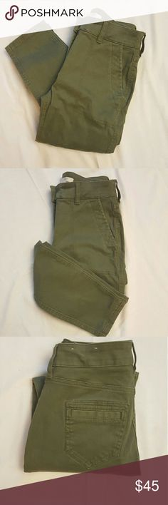LOFT  green skinny pants Loft army green high wasted skinny pants in great condition. LOFT Pants
