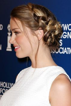 Red carpet hairstyle. Braided updo - Amber Heard. Celebrity hairstyle.