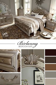 Wow - glam bedroom! This is so chic and oh-oh fancy! From the upholstered headboard and footboard with mirror accents, to the silver-colored finish, this is definitely big style that makes a statement! Birlanny Bedroom - Signature Design by Ashley - Ashley  Furniture - #AshleyFurniture #GlamBedrooms