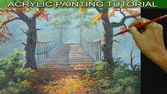 Acrylic Landscape Painting Tutorial Autumn Trees on Hanging Bridge by JM...