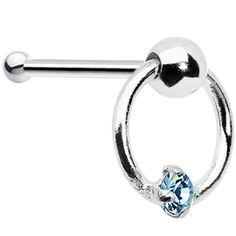 .925 Sterling Silver Aqua Gem Door Knocker Nose Bone #bodycandy #nosering #aqua #knocker $2.99