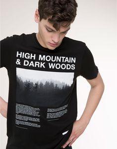Pull&Bear - dla niego - koszulki - koszulka z krótkim rękawem z nadrukiem - czarny - 05238508-I2015