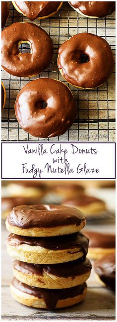 Treat yourself to our vanilla cake donuts with fudgy Nutella glaze for a decadent, sweet treat. It's perfect for breakfast or dessert! via @berlyskitchen