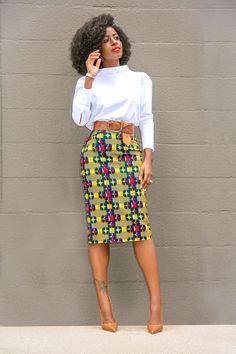 Check out this outfit on Trove: Pencil Skirt Casual, Pencil Skirt Outfits, High Waisted Pencil Skirt, African Print Pencil Skirt, Printed Pencil Skirt, Batik Fashion, Skirt Fashion, Fashion Outfits, Classy Outfits