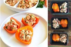 Roasted garlic chicken salad in bell pepper cups