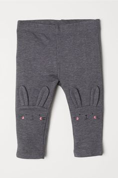 42852999131 Leggings with Motif - Dark gray melange rabbit - Kids