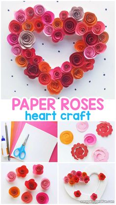 Paper Roses Heart Craft for Kids - Valentines Day or Mothers Day