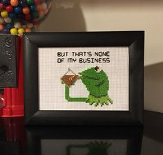 Hey, I found this really awesome Etsy listing at https://www.etsy.com/listing/277256768/kermit-tea-cross-stitch