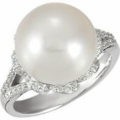 14K White 12mm South Sea Cultured Pearl & 1/3 ct tw Diamond Ring
