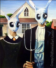 "Acrylic on canvas, based on Grant Wood's ""American Gothic"" Grant Wood American Gothic, American Gothic Parody, American Art, Mona Friends, Canvas Wall Art, Canvas Prints, Famous Artwork, Artist Portfolio, Art Institute Of Chicago"