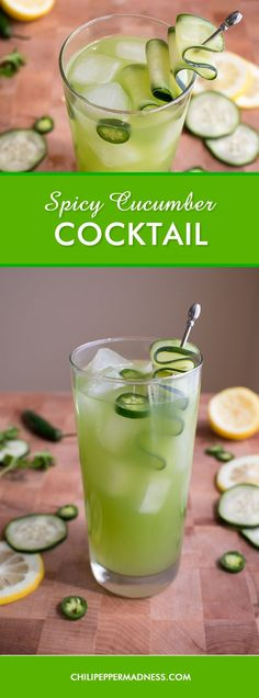Spicy Cucumber Cocktail - A refreshing cocktail recipe featuring the flavors of crisp cucumber, fragrant cilantro, tart lemon and fiery serrano pepper, made a little sweet with sugar and rallied with cilantro vodka. Cocktail time, my friends! Spicy Drinks, Vodka Cocktails, Refreshing Cocktails, Cocktail Drinks, Yummy Drinks, Cocktail Recipes, Fun Drinks, Healthy Cocktails, Vodka Martini
