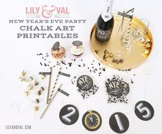New Year Eve party printables including bottle labels, cupcake toppers, banner, Hersheys kisses and more, Chalk Art by @lilyandval