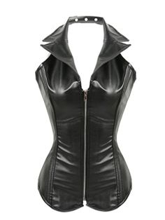 Black Leather Halter Neck Turn-down Collar Steel Boned Overbust Corset