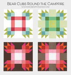 Moda Block Heads 3 - Block 53 Bear Cubs Around the Campfire 4'', 6'', 8'' & 12''