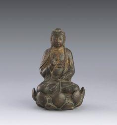 遼 銅漆金阿彌陀佛坐像 | Lot | Sotheby's