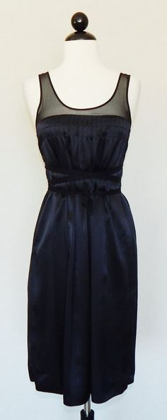 VINCE Black 100% Silk Sheer Strap Dress w/ Attached Tie Belt Detail - XS #Vince #Shift #Cocktail