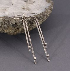 Edgy Sterling Silver Stick Earrings - Modern - Sexy - Sticks and Stones Earrings