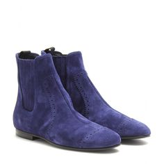 Balenciaga - SUEDE ANKLE BOOTS - A genteel coating of lush suede and a forever-classic silhouette, Balenciaga put their best foot forward with this archetypal ankle boot. In midnight blue with subtle scalloped detailing, these savant-worthy staples are worn best with second-skin denim and luxe layered basics.  seen @ www.mytheresa.com