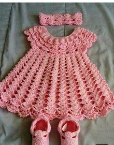 Baby Knitting Patterns, Crochet Baby Dress Pattern, Baby Patterns, Crochet Toddler, Baby Girl Crochet, Crochet Baby Clothes, Baby Girl Frocks, Frocks For Girls, Baby Girl Dresses