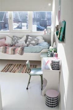 Grey, mint, pink and geometric patterns. Inspiration for kids rooms.