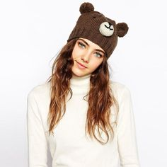 2016 Woman Fashion Bear Wool Knitted Hat With Ears Girls Winter Hats Female Skullies & Beanies #>=#>=#>=#>=#> Click on the pin to check out discount price, color, size, shipping, etc. Save and like it!