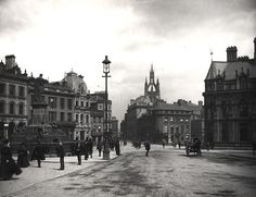 """century Collingwood Street, looking east from the Central Station. The statue of """"father of the railways"""" George Stephenson is on the left. Collingwood Street is named after the famous Admiral of Trafalgar. Old Pictures, Old Photos, Newcastle Gateshead, Durham City, Somewhere In Time, North East England, City Of Angels, Sunderland, Local History"""