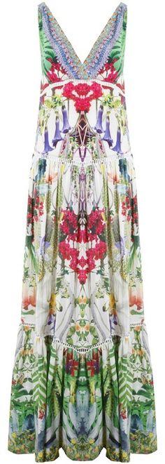 Exotic Hypnotic Tiered Gathered V-Neck Dress