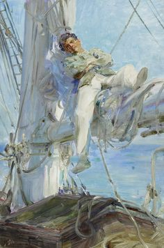 Henry Scott Tuke(British, 1858-1929)  Sleeping Sailor  1905  45.7 x 30.5cm