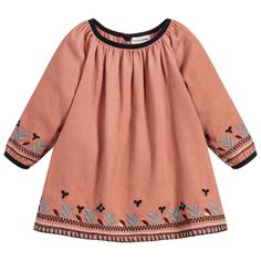 Caramel Baby Girls Coral Brown Dress at Childrensalon.com