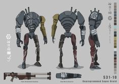 The third and final character design for my project. a reprogrammed droid gone rogue. I wanted to keep the general bulky shape of the battle droid so the only things I changed to give it individuality Star Wars Fan Art, Droides Star Wars, Star Wars 1313, Star Wars Concept Art, Robot Concept Art, Star Wars Gifts, Star Wars Characters Pictures, Star Wars Pictures, Star Wars Images