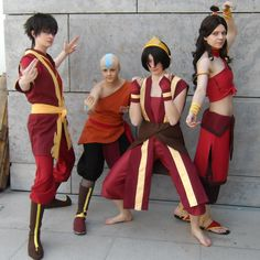 Zuko, Aang, Toph, and Katara... FIRE-NATION style!