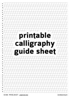 In Issue 1 of Side Project we've included an introduction to pointed pen calligraphy – a great starting point for learning copperplate or modern style calligraphy. Here you can download our free printable guide sheet to use with the tutorial, or just with your own practice. Print out this sheet and place under your paper so that you can see the lines through it, and use as a guide for letter heights and angle. Good luck!