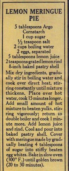 Vintage Recipe Clipping For Lemon Meringue Pie Retro Recipes, Old Recipes, Lemon Recipes, Vintage Recipes, Sweet Recipes, Cooking Recipes, Recipies, Lemon Desserts, Just Desserts