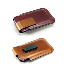 Two-tone iPhone 6 PLUS Leather Holster w Rotating Clip by FleurdeLeather