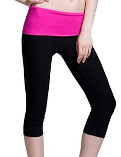 Kuer Womens High Waist Stretch Slim Fit Cropped Trousers Yoga Pants Leggings Rose Red ** Continue to the product at the image link.